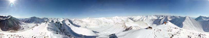 Круговая панорама Тункских Гольцов с высоты 2937м (справа пер.Шумак)
