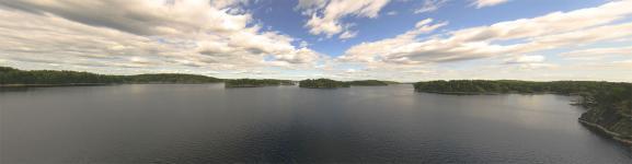 Панорама с моста через протоку озера Lietvesi